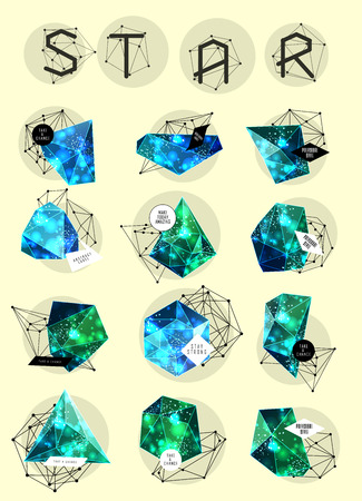 night vision: Abstract polygonal cosmic crystal and label. Elements of astronomy and constellation. Cosmic style. low poly illustration Illustration