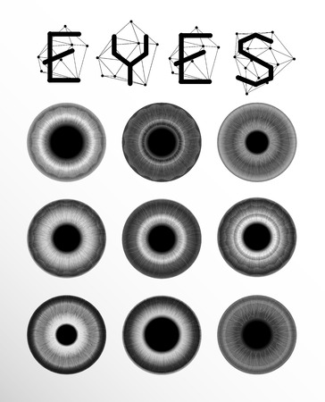 pupil: Eyes collection. Human pupil. Creative label and bubbles