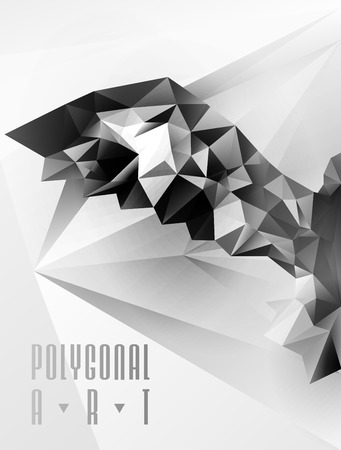 stag beetle: Abstract polygonal bird. Geometric illustration. low poly poster