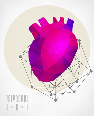 stag beetle: Abstract polygonal heart. low poly illustration. Creative poster Illustration