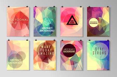 Conjunto de modelos de cartel, aviador, diseño de folletos. Fondos poligonales modernas abstractas. Foto de archivo - 42983475