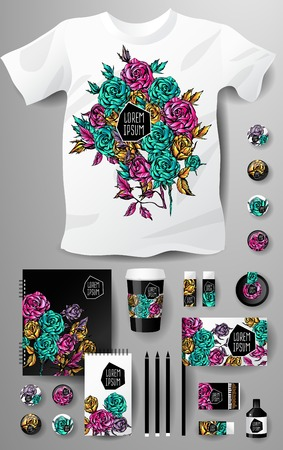 pencil and paper: Abstract  business set with flowers. Corporate identity templates, notebook, card, flag, T-shirt, package, matches, ink, pencil, paper cup, invitation card