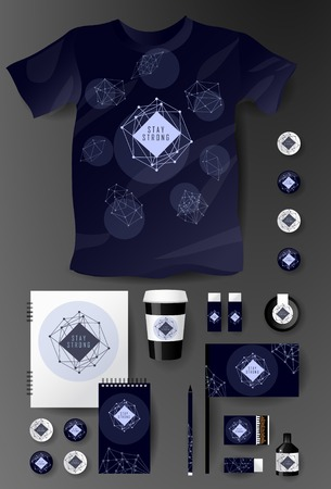 Abstract  business set in cosmic polygonal style. Corporate identity templates, notebook, card, flag, T-shirt, package, matches, ink, pencil, paper cup, invitation card