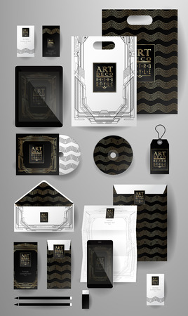 respectable: Abstract  business set in Art deco style .Corporate identity templates, card, disk, package, label, envelope, pen, Tablet PC, Mobile Phone, pencil, folders for documents, invitation card