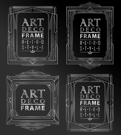 great: Art deco geometric vintage frame can be used for invitation, congratulation