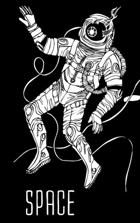 astronaut: Space concept with astronaut and typography. Cosmic poster Illustration
