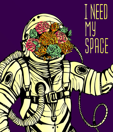 spaceflight: Space concept with astronaut, Quote Background and flowers, typography. Cosmic poster