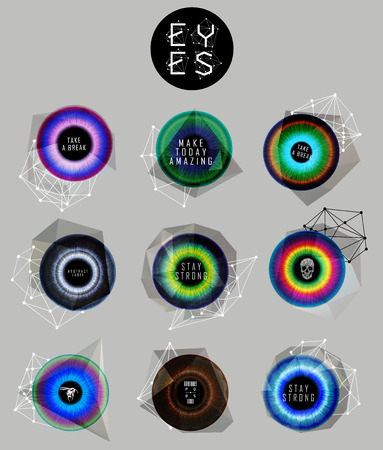 Eyes collection. Human pupil. Creative label and bubbles. low poly illustration Illustration