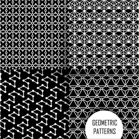 motif geometriques: Motif g�om�trique abstrait. Texture noir et blanc. Illustration