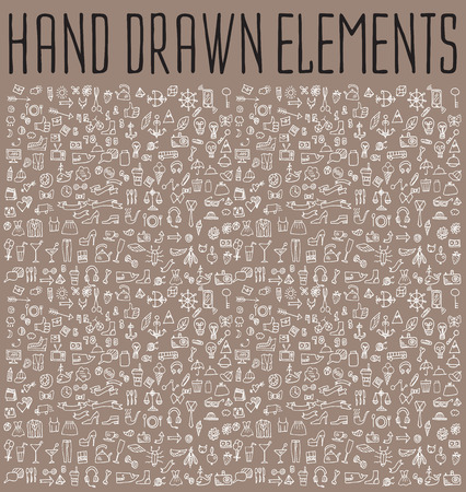 science text: Hand drawn icons and elements pattern. Digital illustration