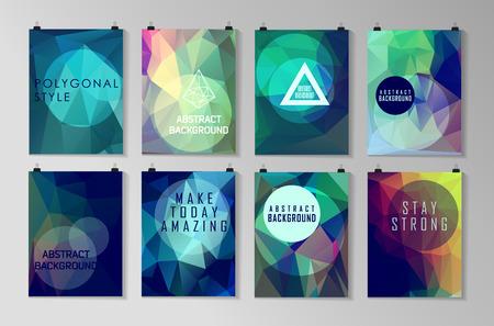 folleto: Conjunto de modelos de cartel, aviador, diseño de folletos. Fondos poligonales modernas abstractas. Vectores