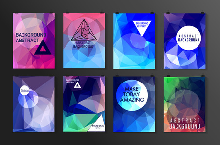 Set of poster, flyer, brochure design templates. Abstract modern polygonal backgrounds.