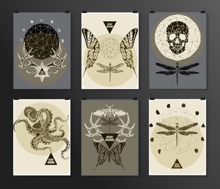 gothic style: Set of poster, flyer, brochure design templates in gothic style. Symbol, sign for tattoo. Abstract modern backgrounds.