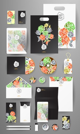 pen tablet: Abstract  business set with flowers. Corporate identity templates, card, disk, package, label, envelope, pen, Tablet PC, Mobile Phone, pencil, folders for documents, invitation card