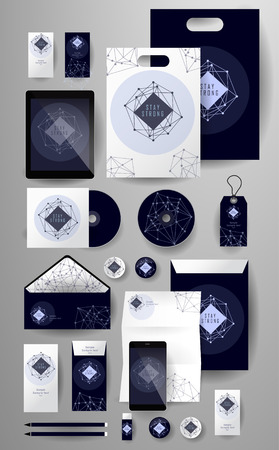 theorem: Abstract  business set in cosmic polygonal style. Corporate identity templates, card, disk, package, label, envelope, pen, Tablet PC, Mobile Phone, pencil, folders for documents, invitation card