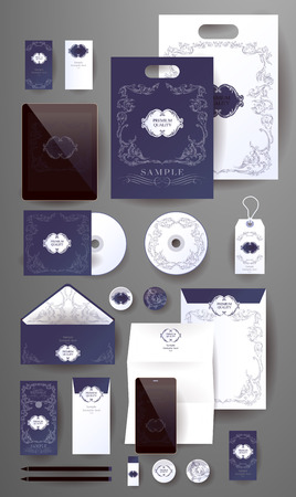 respectable: Abstract  business set in decorative, vintage style. Corporate identity templates, card, disk, package, label, envelope, pen, Tablet PC, Mobile Phone, pencil, folders for documents, invitation card