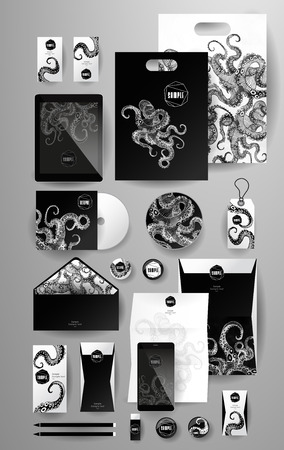 Abstract  business set with octopus. Corporate identity templates, card, disk, package, label, envelope, pen, Tablet PC, Mobile Phone, pencil, folders for documents, invitation card Иллюстрация