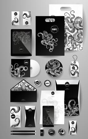 pulpo: Resumen de negocio conjunto con pulpo. Modelos de la identidad corporativa, tarjetas, disco, envase, etiqueta, sobre, pluma, Tablet PC, teléfono móvil, lápiz, carpetas de documentos, tarjetas de invitación