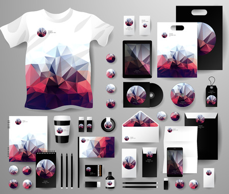 Abstract  business set in polygonal style. Corporate identity templates, notebook, card, flag, T-shirt, disk, package,  label, envelope, pen, Tablet PC, Mobile Phone, matches, ink, pencil, paper cup, forms, folders for documents, invitation card