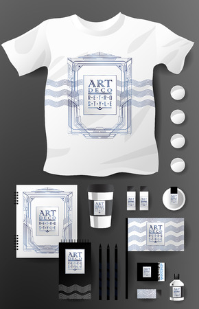 pencil and paper: Abstract  business set in Art deco style. Corporate identity templates, notebook, card, flag, T-shirt, package, matches, ink, pencil, paper cup, invitation card