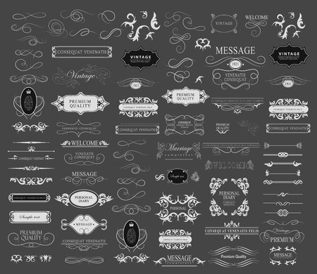 etiqueta: Conjunto de elementos caligráficos de diseño se puede utilizar para la invitación, felicitación Vectores
