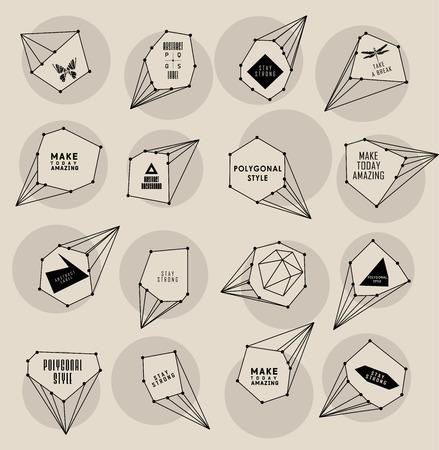 teorema: Etiqueta poligonal abstracta y diseño de la burbuja. Estilo Cósmico. bajo ilustración poli