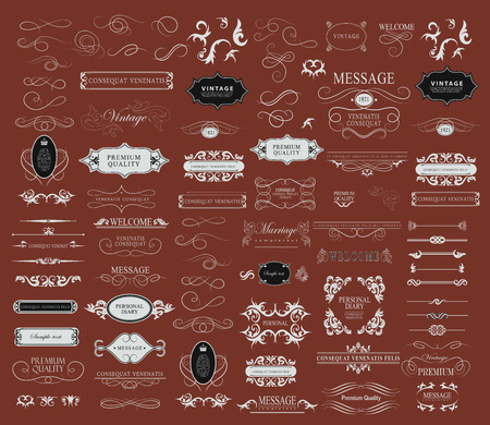 Set of calligraphic elements for design  can be used for invitation, congratulation Stock Illustratie