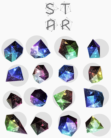 teorema: Abstract polygonal cosmic crystal and label. Elements of astronomy and constellation. Cosmic style. low poly illustration Vectores