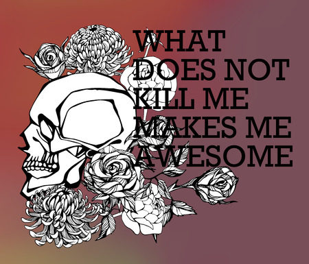 chest pain: Quote Typographical Background with hand draw skull
