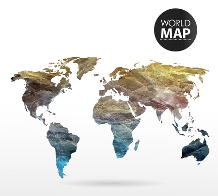 papier aquarelle: Modern elements of info graphics. Watercolor, paper World Map