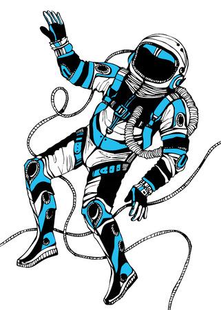 cartoon astronaut: Space concept with astronaut. Cosmic poster. Retro illustration Illustration