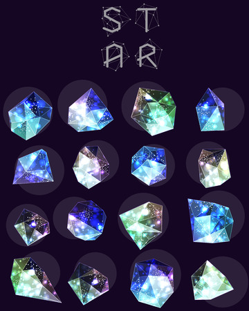Abstract polygonal cosmic crystal and label. Elements of astronomy and constellation. Cosmic style. low poly illustration Illustration