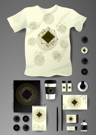theorem: Abstract  business set in cosmic polygonal style. Corporate identity templates, notebook, card, flag, T-shirt, package, matches, ink, pencil, paper cup, invitation card