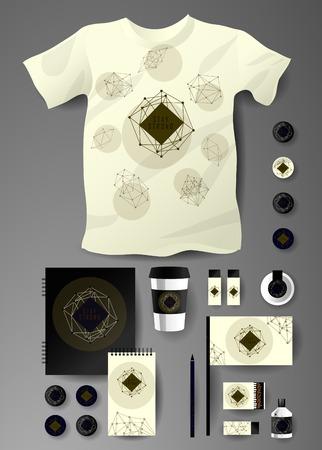 teorema: Conjunto abstracto del asunto en estilo poligonal cósmica. Modelos de la identidad corporativa, cuaderno, tarjeta, bandera, camiseta, paquete de partidos,, lápiz, taza de papel, tarjeta de invitación de tinta