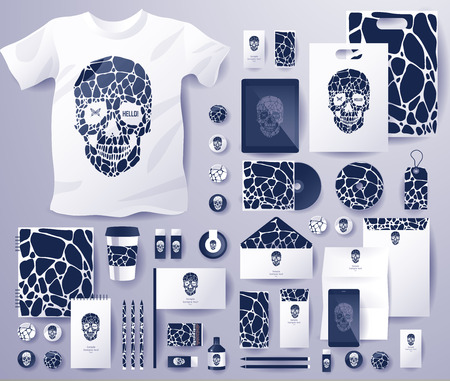 branding: Abstract  business set with skull and bubble . Corporate identity templates, notebook, card, flag, T-shirt, disk, package,  label, envelope, pen, Tablet PC, Mobile Phone, matches, ink, pencil, paper cup, forms, folders for documents, invitation card Illustration