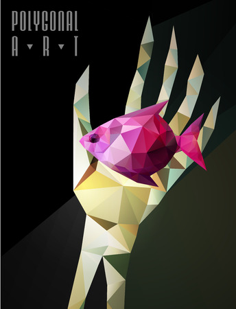 Abstract polygonal hand . Geometric hipster illustration. Polygonal poster Illustration