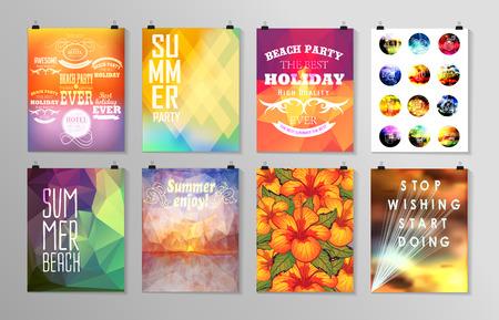 sol radiante: Conjunto de cartel, folleto, plantillas de dise�o folleto .. Elementos para Vacaciones de verano con el fondo colorido. Dise�os caligr�ficos y adornos Vectores