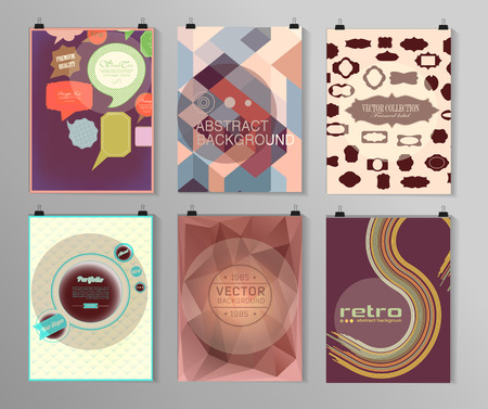 retro backgrounds: Set of poster, flyer, brochure design templates in different styles. Infographic concept. Retro design. Abstract modern backgrounds.