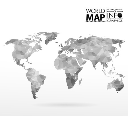 old world: Modern elements of info graphics. Polygonal, mosaic World Map