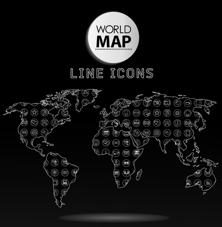 ions: Modern elements of info graphics. Icons, symbols World Map