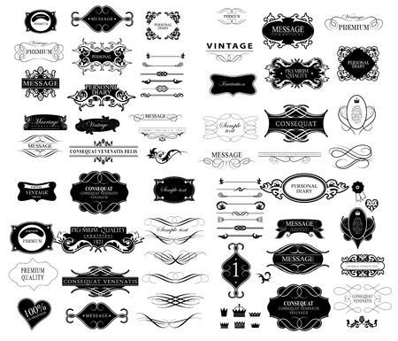marcos decorativos: Conjunto de elementos caligráficos de diseño se puede utilizar para la invitación, felicitación Vectores