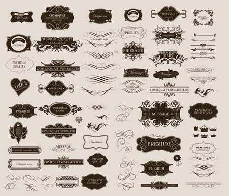 Conjunto de elementos caligráficos de diseño se puede utilizar para la invitación, felicitación Foto de archivo - 43046279