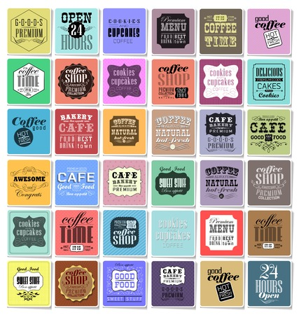 bakery price: Mega set of Vintage Retro Coffee  Labels and typography. Pattern in retro style