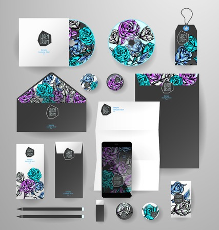 the envelope: Abstract  business set with flowers. Corporate identity templates, card, disk, package, label, envelope, pen, Tablet PC, Mobile Phone, pencil, folders for documents, invitation card
