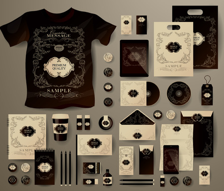 Abstract  business set in decorative, vintage style. Corporate identity templates, notebook, card, flag, T-shirt, disk, package,  label, envelope, pen, Tablet PC, Mobile Phone, matches, ink, pencil, paper cup, forms, folders for documents, invitation card