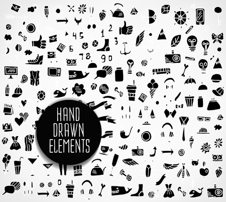 pencil drawings: Hand drawn icons and elements pattern. Digital illustration