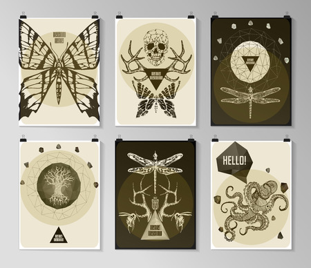 tatouage: Ensemble de affiche, d�pliant, des mod�les de conception de la brochure dans le style gothique. Symbole, signe pour le tatouage. R�sum� milieux modernes.