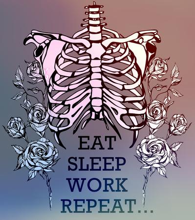 skeleton hand: Human skeleton. Creative quote background. Digital illustration