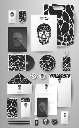 pen tablet: Abstract  business set with skull and bubble. Corporate identity templates, card, disk, package, label, envelope, pen, Tablet PC, Mobile Phone, pencil, folders for documents, invitation card