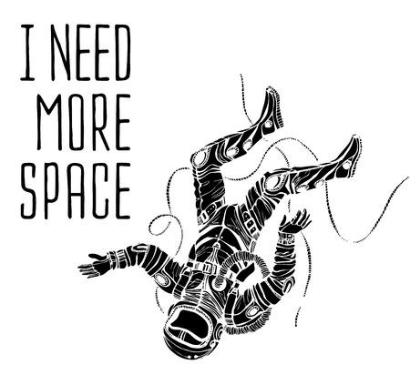 astronauta: Concepto espacial con el astronauta y cita fondo, tipografía. Cartel Cósmica Vectores